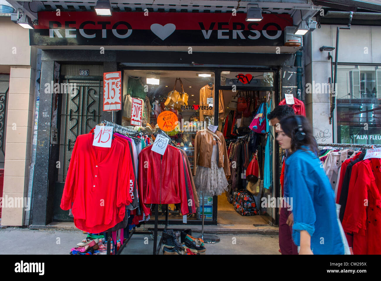 Paris, France, People Shopping in Vintage Clothing Store in Abesses ...