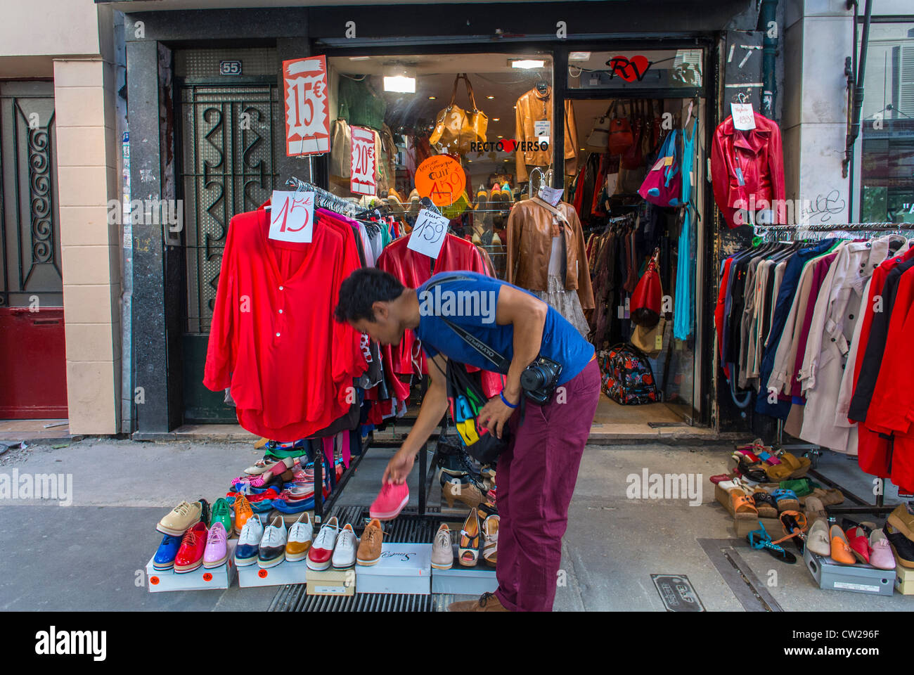 Paris, France, Asian Man Shopping in Vintage Clothing Store in Stock ...