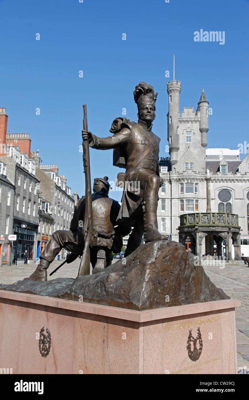Gordon Highlander's Statue, Castlegate, Aberdeen Stock Photo