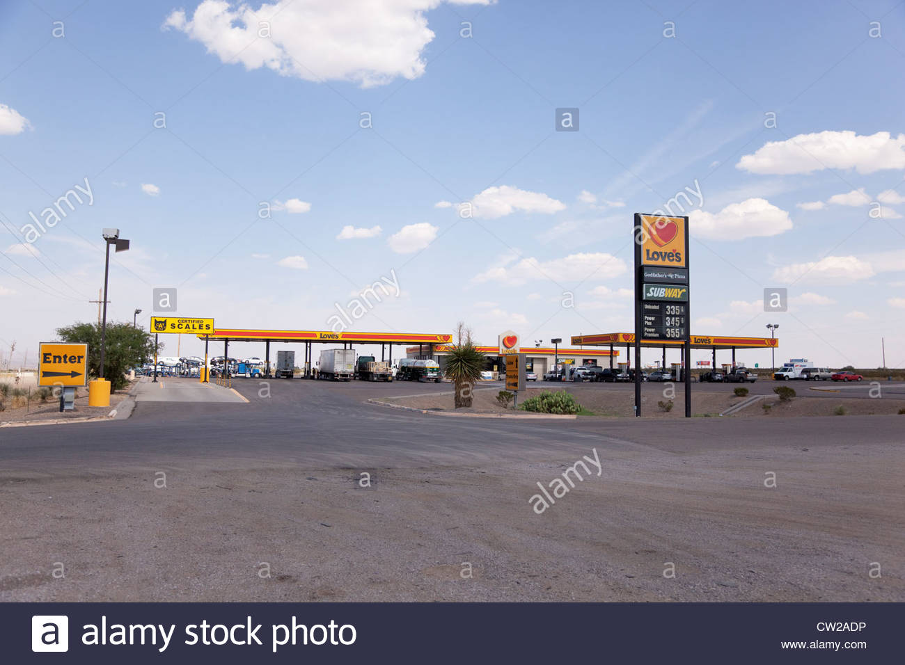 Love's Truck Stop Lordsburg New Mexico 4 people visible - Stock Image