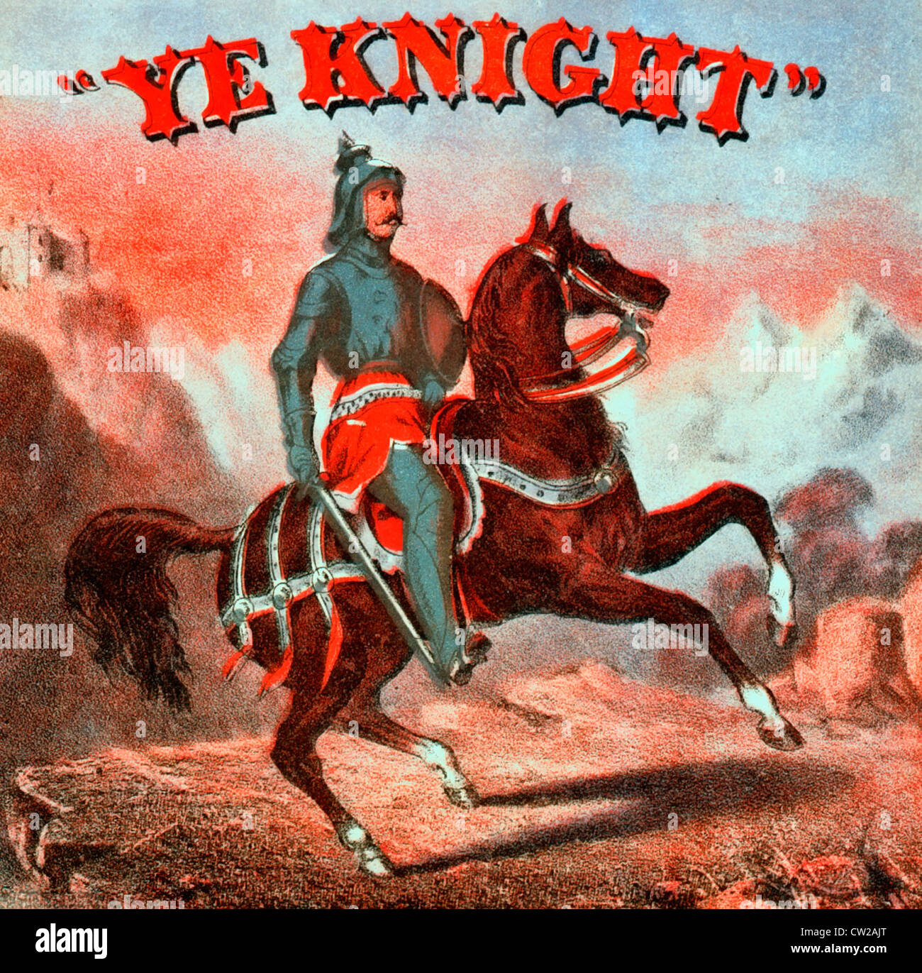 Ye Knight - Tobacco label showing a mounted knight in armor; in the background mountains and a castle. - Stock Image
