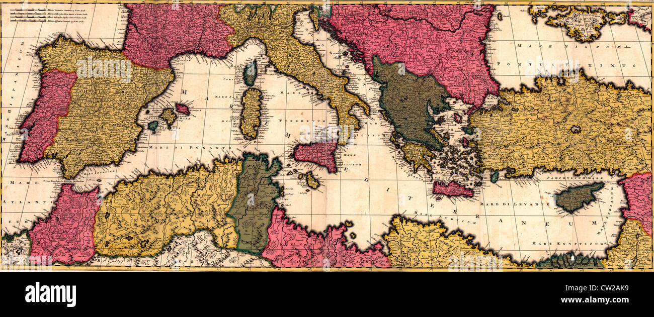 Map of the Mediterranean Sea with Italy, France, Algeria, Egypt, Spain and the Adriatic Sea, circa 1695 - Stock Image