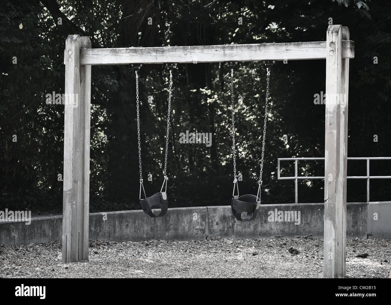 Swings at the park - Stock Image