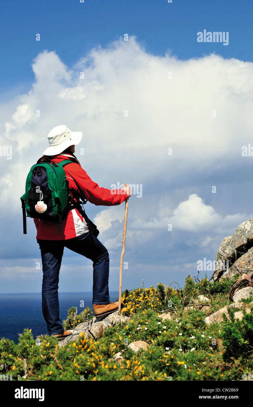 Spain, Galicia: St. James pilgrim at Cape Fisterra - Stock Image