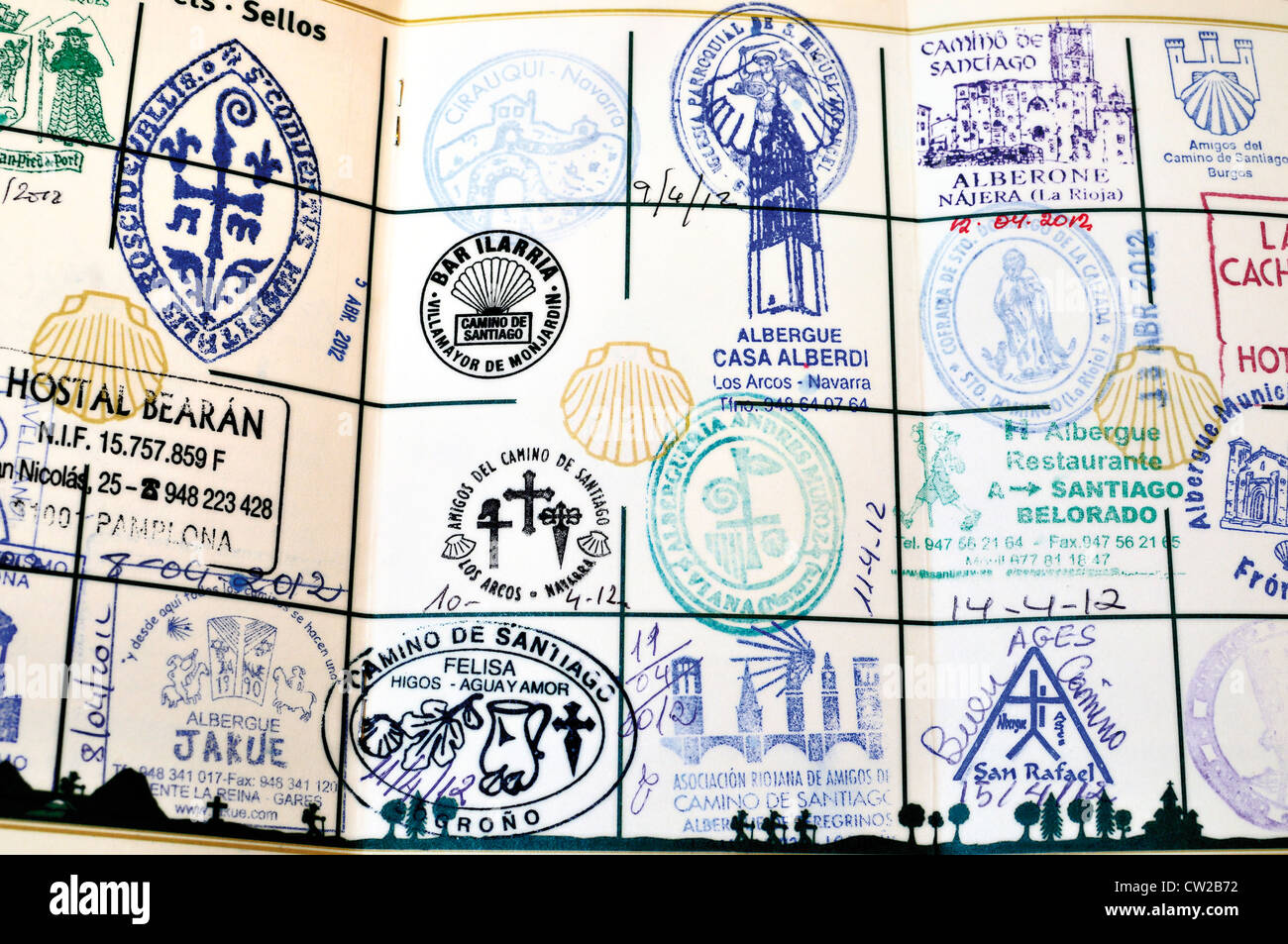Spain, St.James Way: Pilgrim´s passport with complete stamps - Stock Image