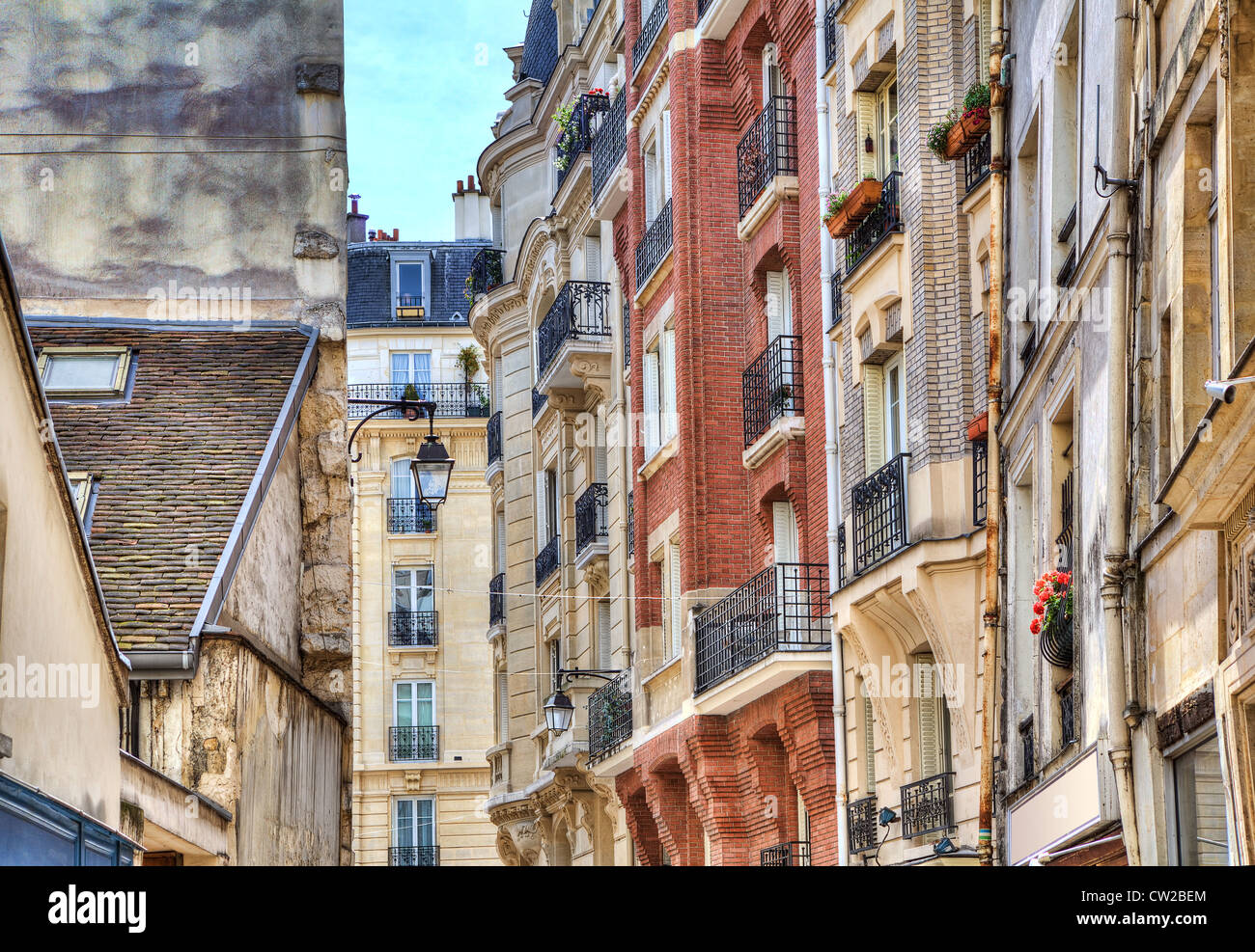 Traditional parisian residential buildings. Paris, France. - Stock Image