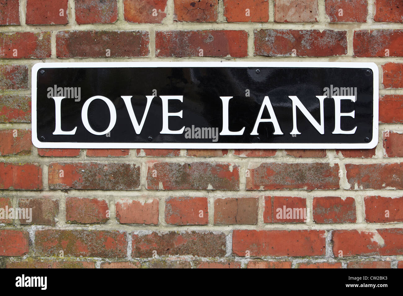 Street Sign For Love Lane On Brick Wall - Stock Image