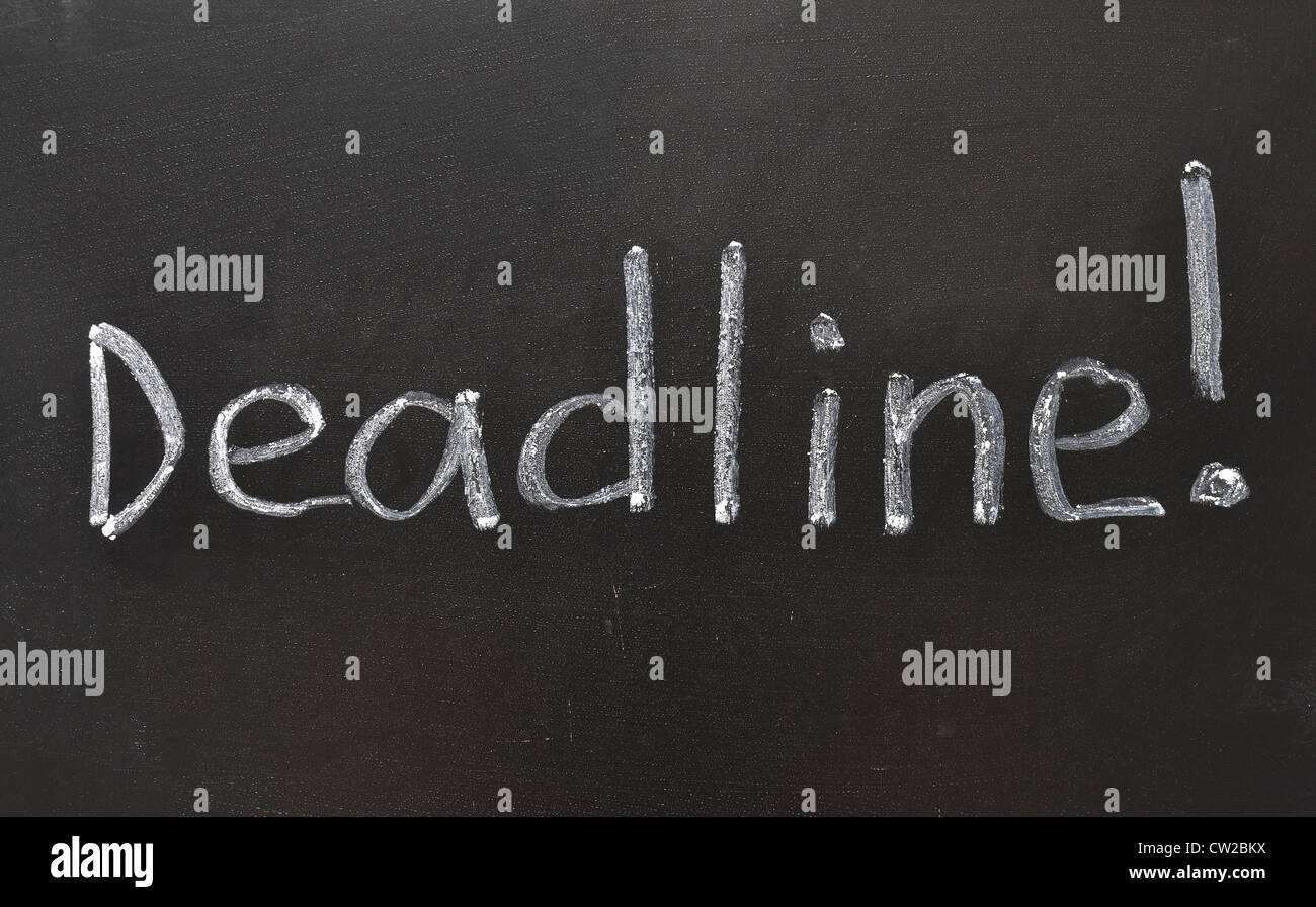 handwritten Deadline with Exclamation point on the school blackboard - Stock Image