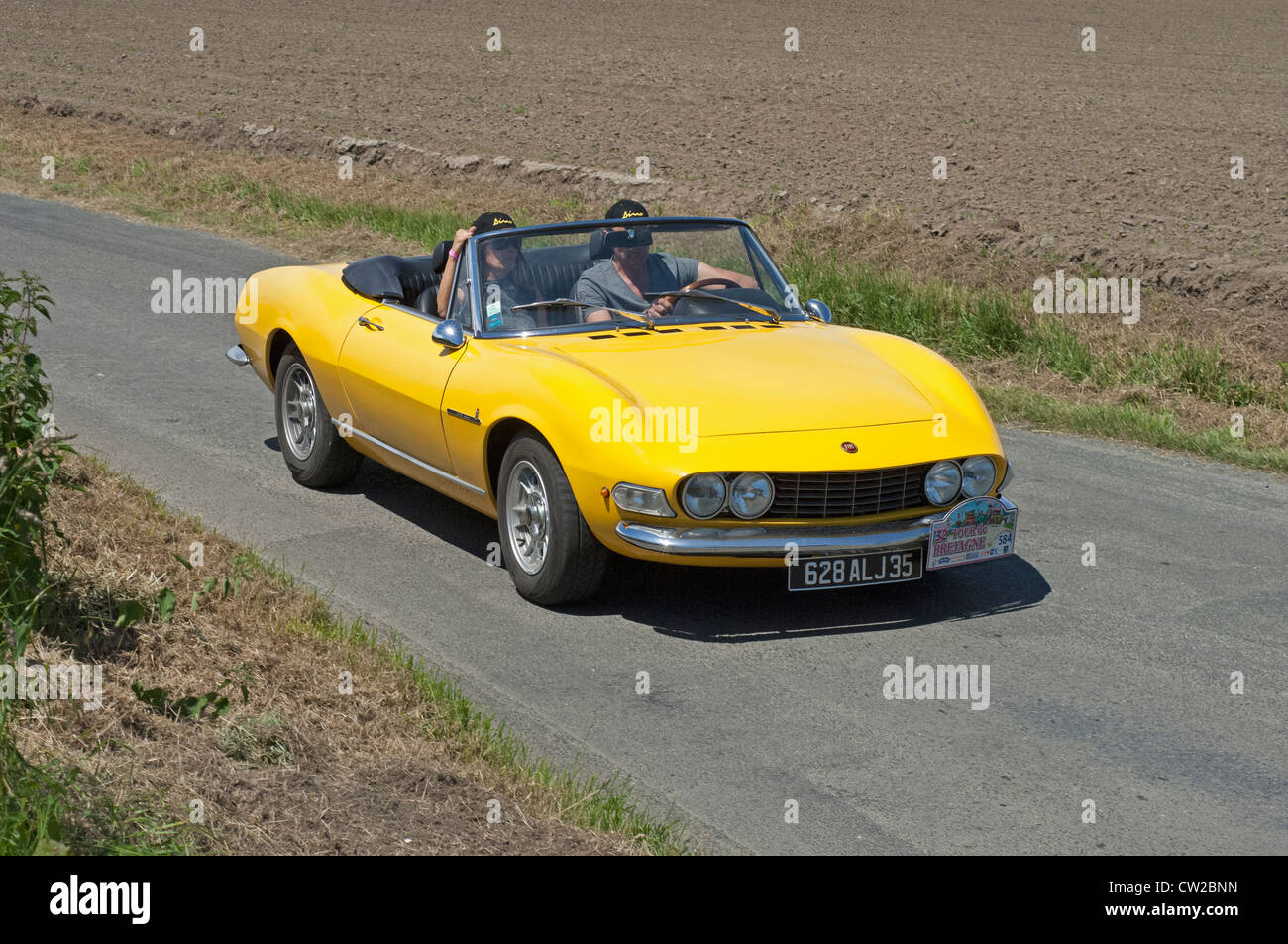 Fiat Dino Cabriolet of 1968 in the Tour de Bretagne near Pordic in the Cotes d'Amor (22) department of France - Stock Image
