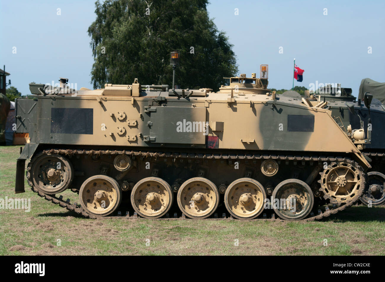 FV432 British Army Armoured Personnel Carrier In Desert Camouflage - Stock Image