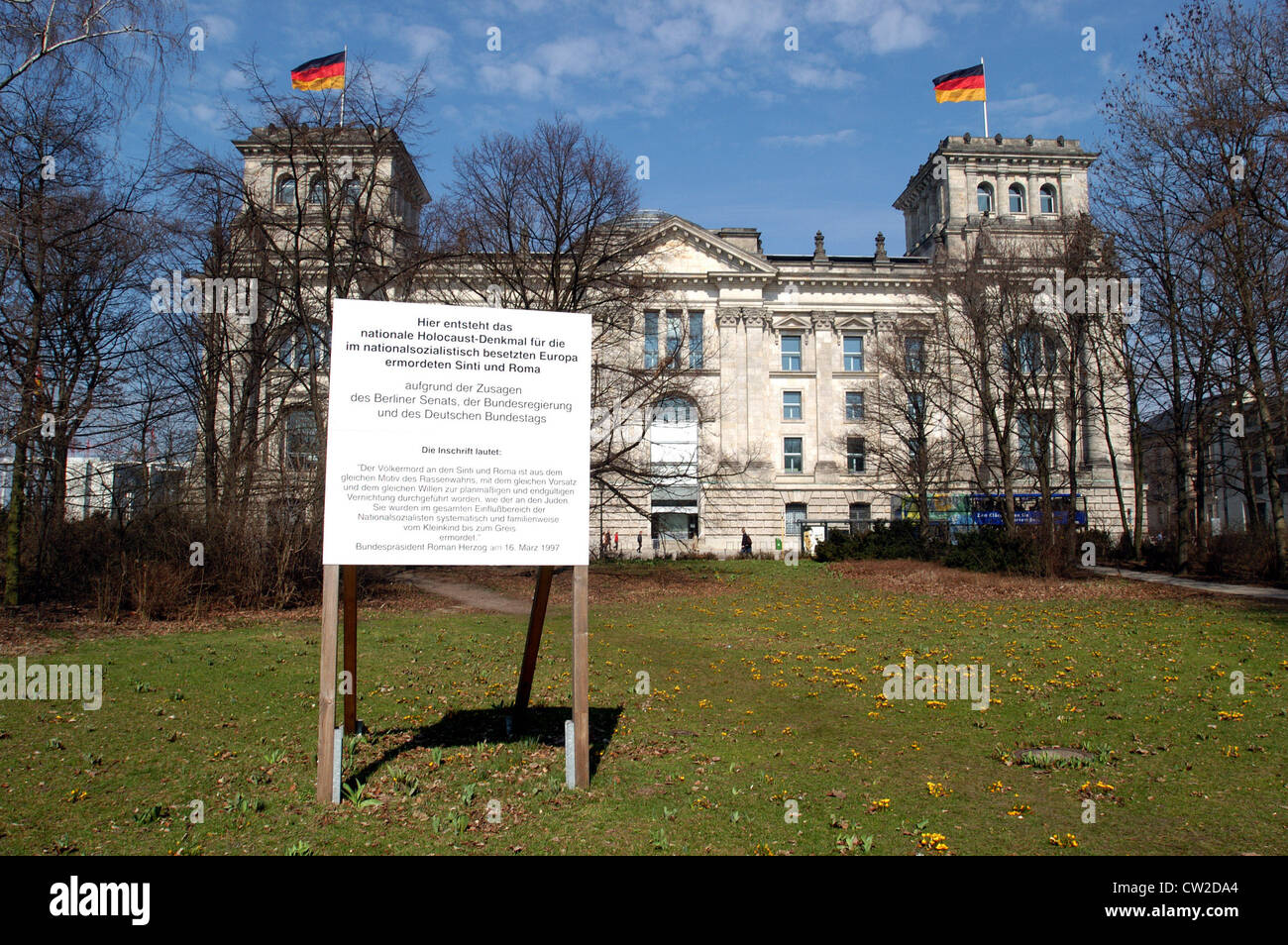 Sign for Roma and Sinti planned memorial for Stock Photo