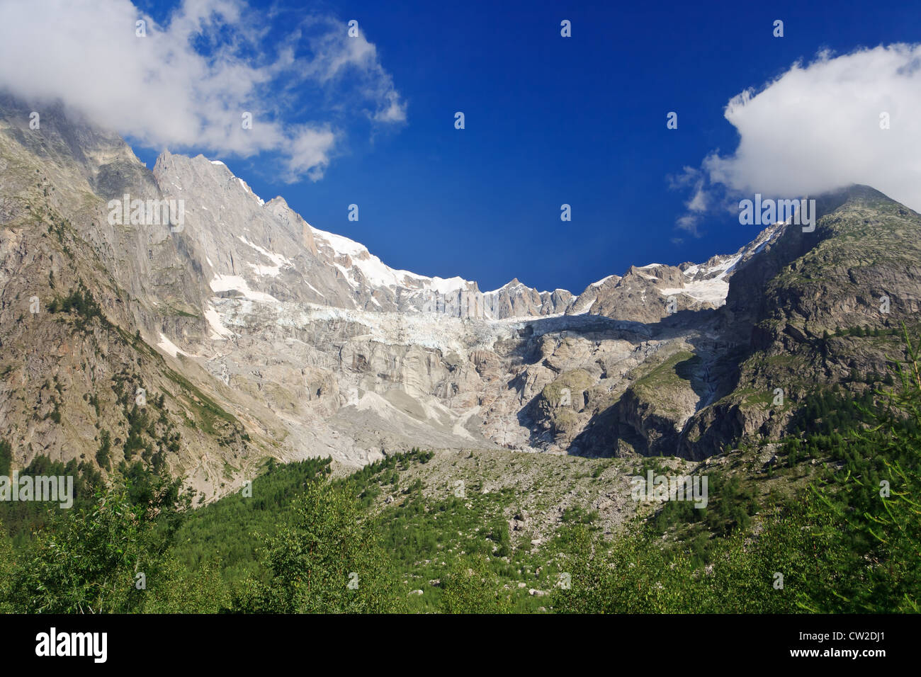 summer view of Miage glacier in Mont Blanc massif, Courmayeur, Italy - Stock Image