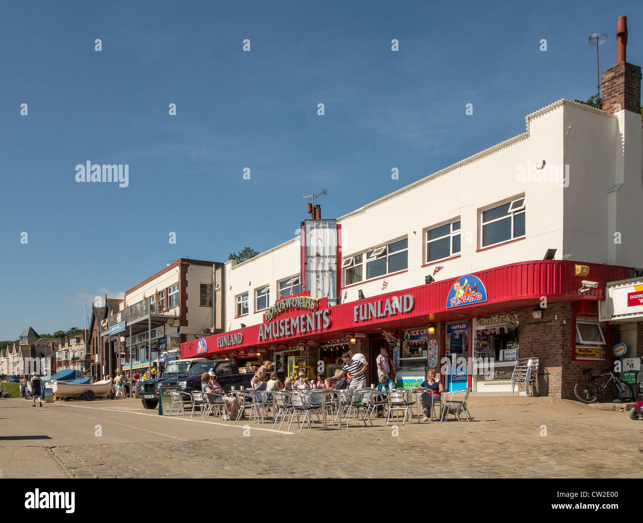 Filey Yorkshire UK The Coble Landing and Amusements - Stock Image