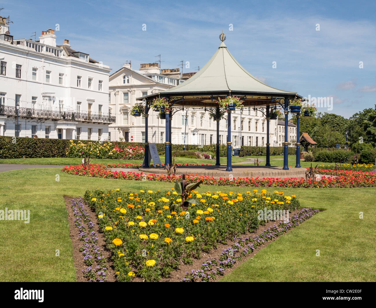 Bandstand and Crescent Gardens Filey North Yorkshire UK - Stock Image