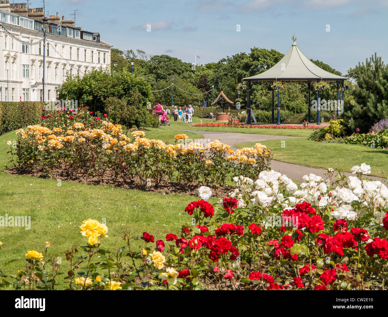 Filey North Yorkshire UK Crescent Gardens and Bandstand - Stock Image
