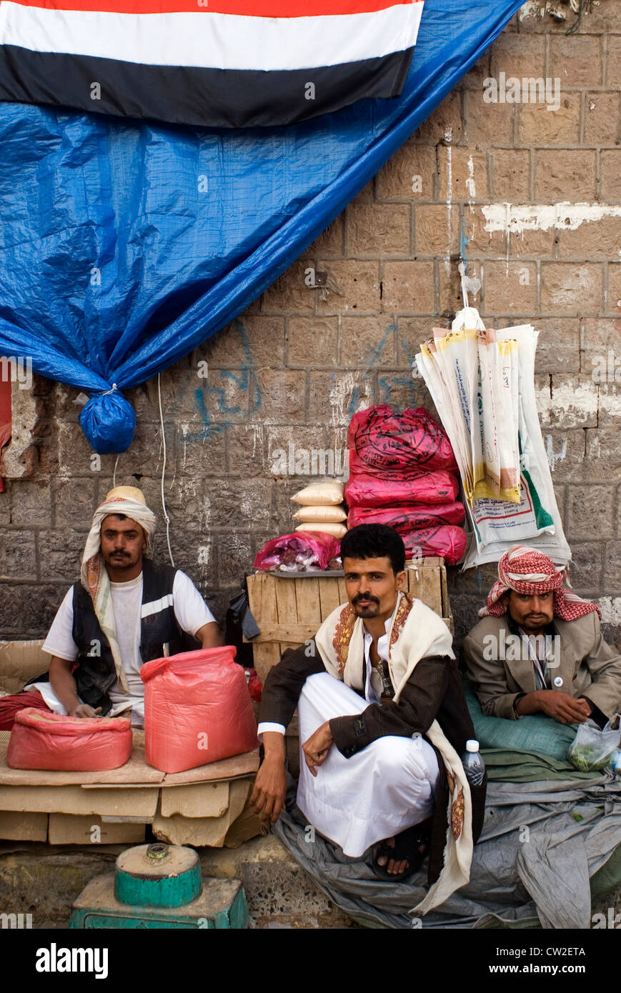 Stallholders in Bab Al Yemen in the old city of Sana'a, a UNESCO World Heritage Site, Yemen, Western Asia, Arabian Stock Photo