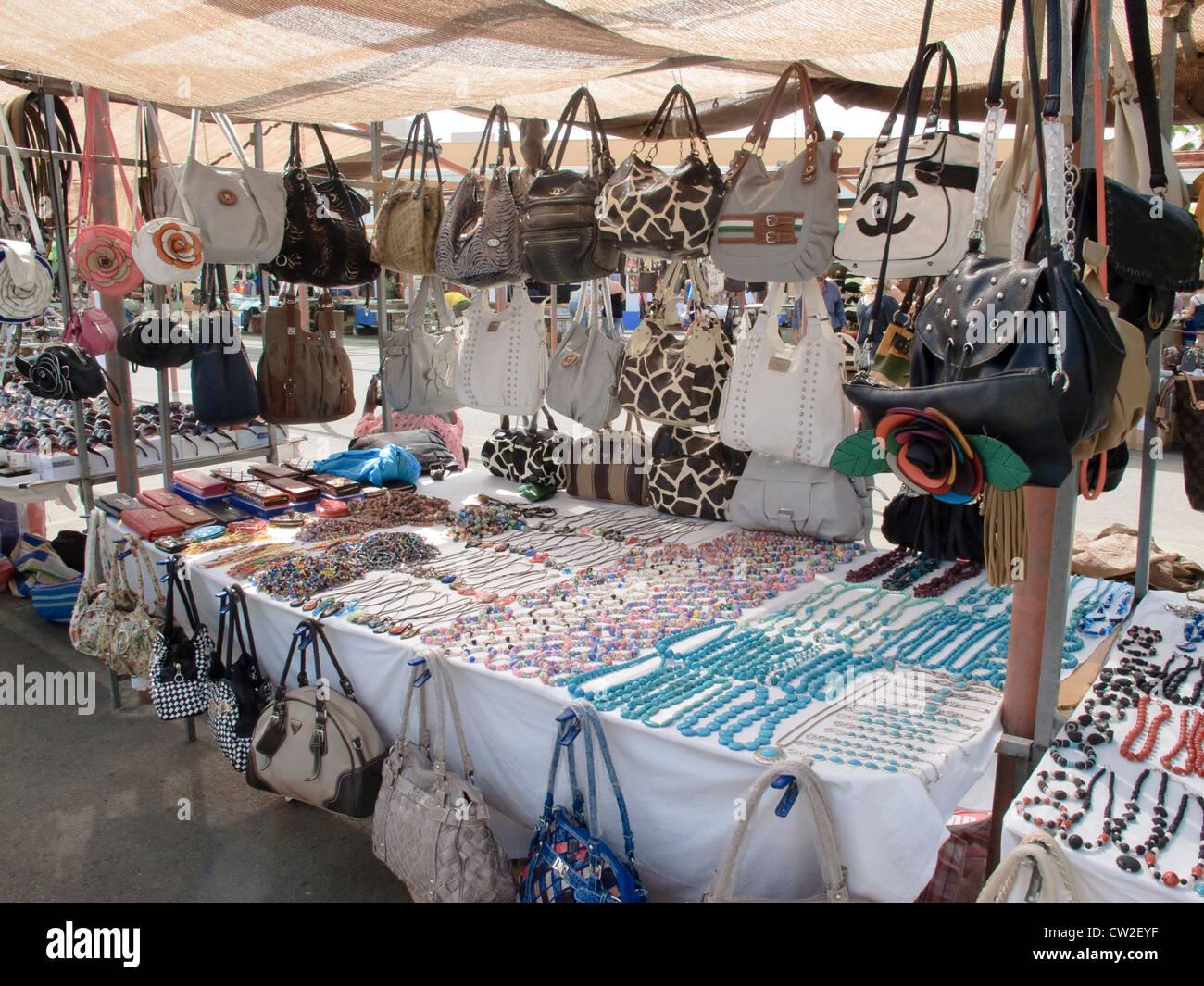 Market stalls Baku Water Park Corralejo La Oliva Fuerteventura Canary Islands Spain - Stock Image