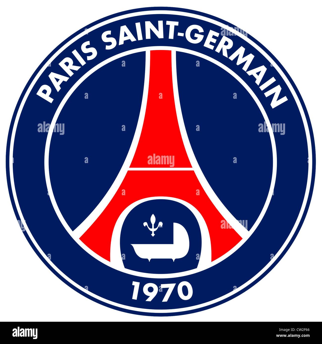 Logo of French football team Paris Saint-Germain Football Club PSG. Stock Photo