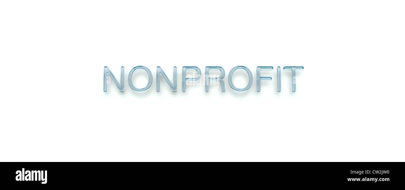 3D Key Word 'NONPROFIT' Glass Style - Stock Image