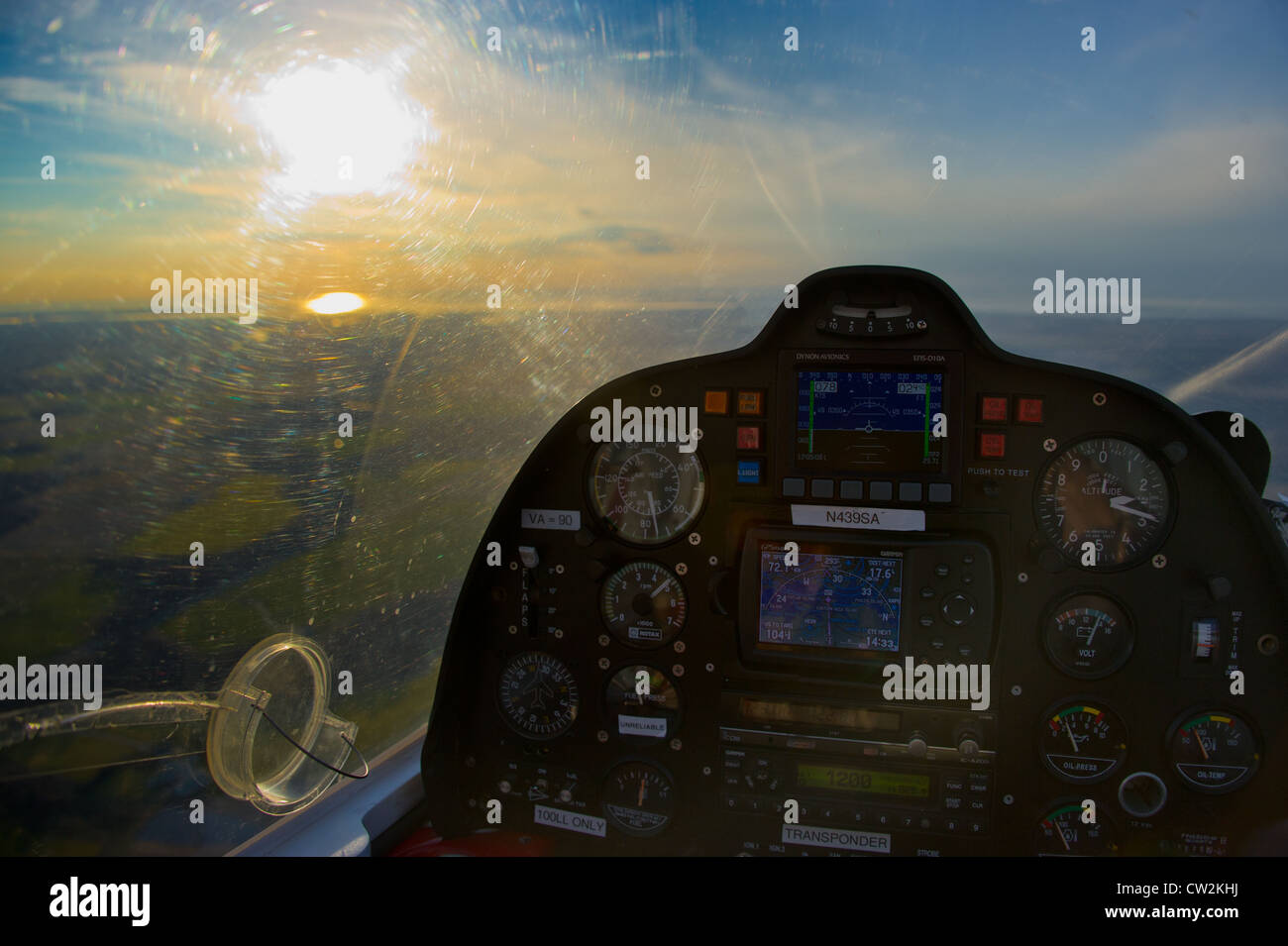 Cockpit of a small plane - Stock Image