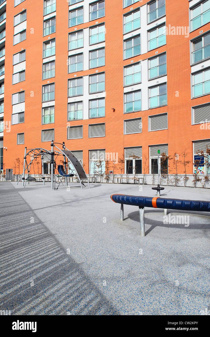 Hard landscaping in new housing development London. - Stock Image