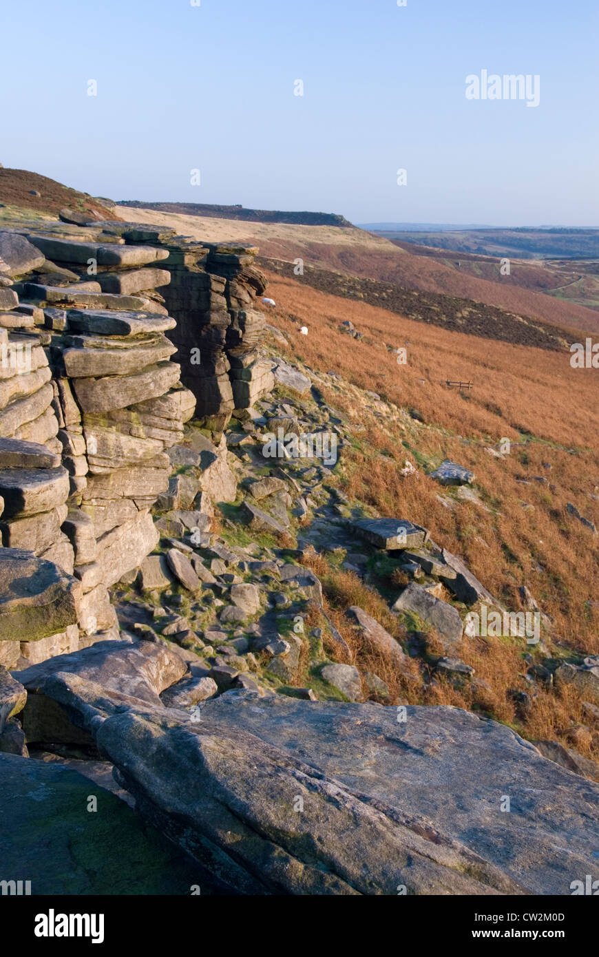 View from Stanage Edge, a Four Miles Long Gritstone Escarpment or Cliff, Derbyshire, Dark Peak, Peak District, UK - Stock Image