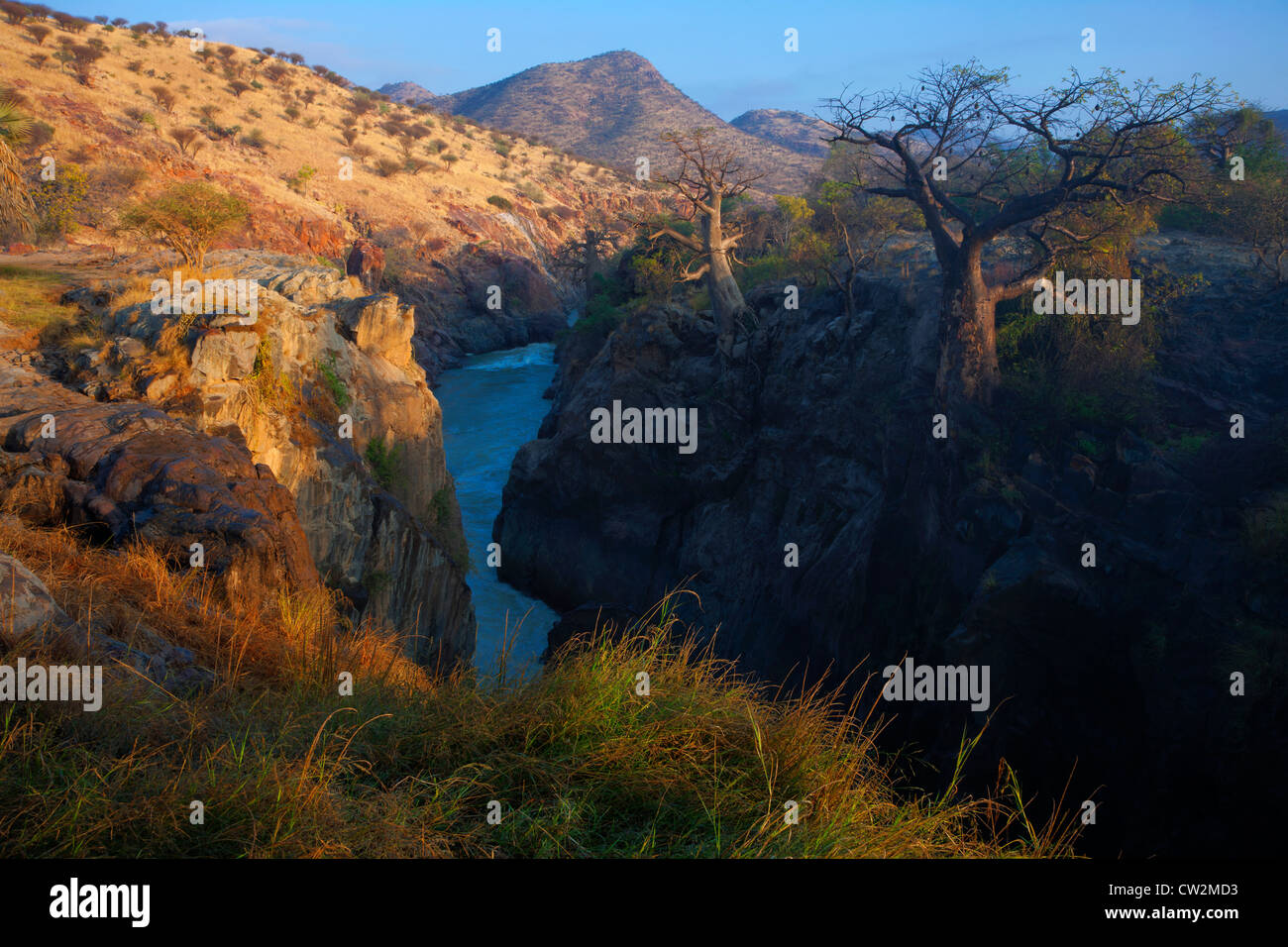 View Kunene River gorge downstream of Epupa Falls.Namibia - Stock Image