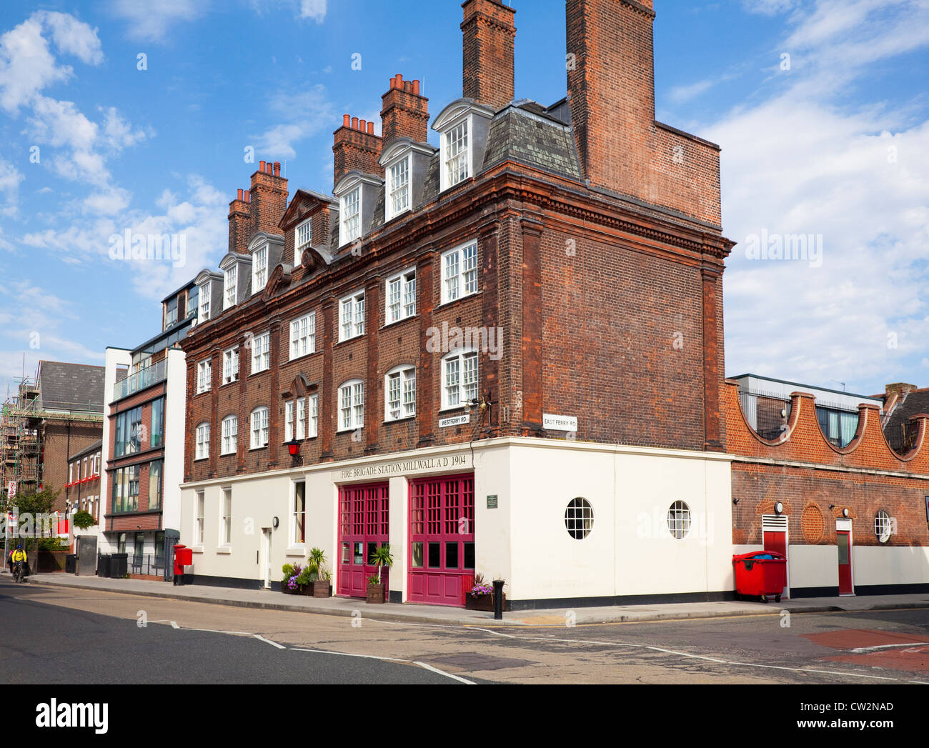 Millwall Fire Station, corner of Westferry Road and East Ferry Road, Isle of Dogs, London, E14, UK - Stock Image