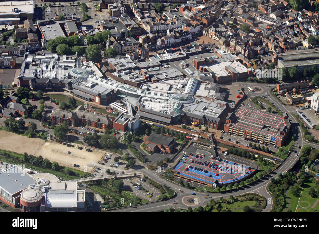 aerial view of Banbury Castle Quay Shopping Centre, Oxfordshire - Stock Image
