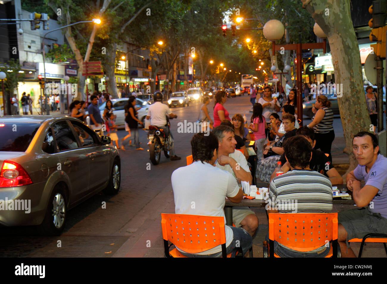 Mendoza Argentina Avenida San Martin street scene commercial district busy avenue sidewalk nightlife shopping alfresco - Stock Image