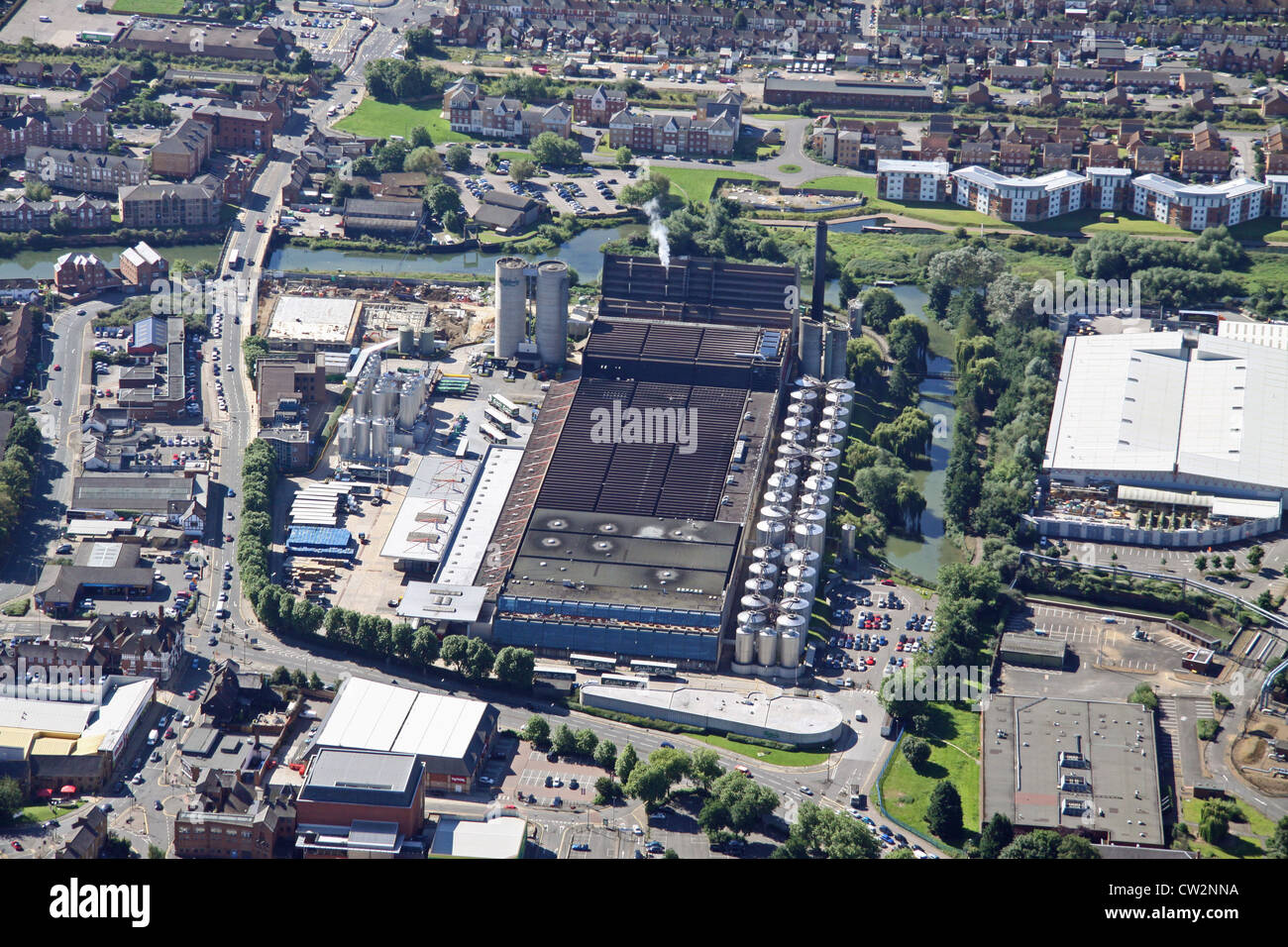 aerial view of Carlsberg brewery, Northampton - Stock Image