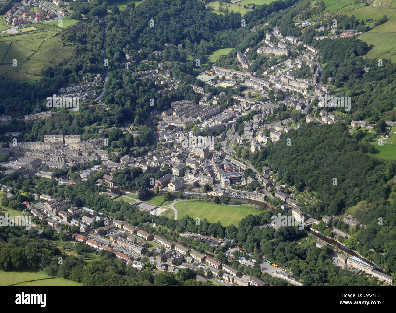aerial view of Hebden Bridge, West Yorkshire - Stock Image