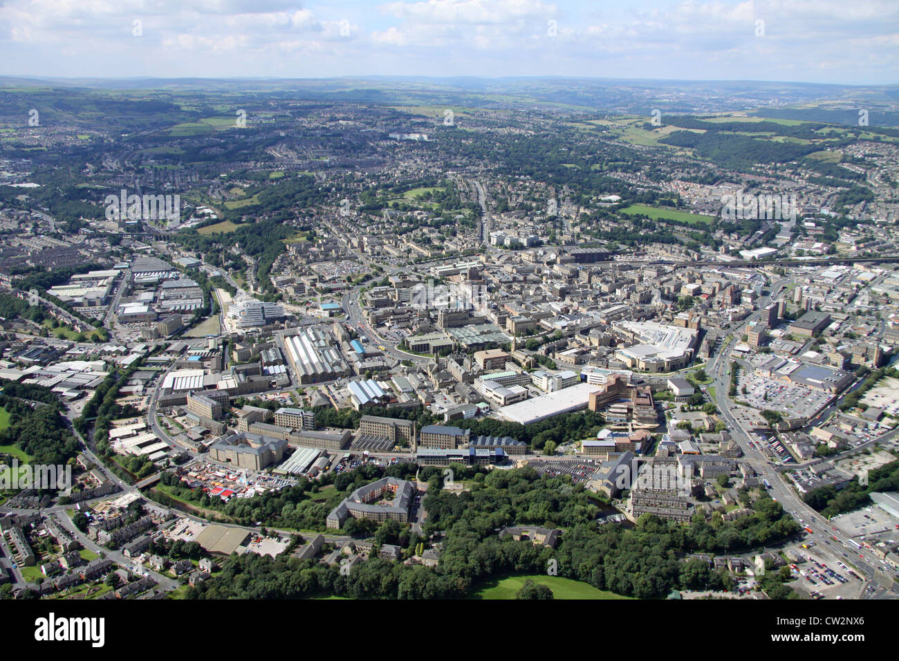 aerial view of Huddersfield town centre - Stock Image