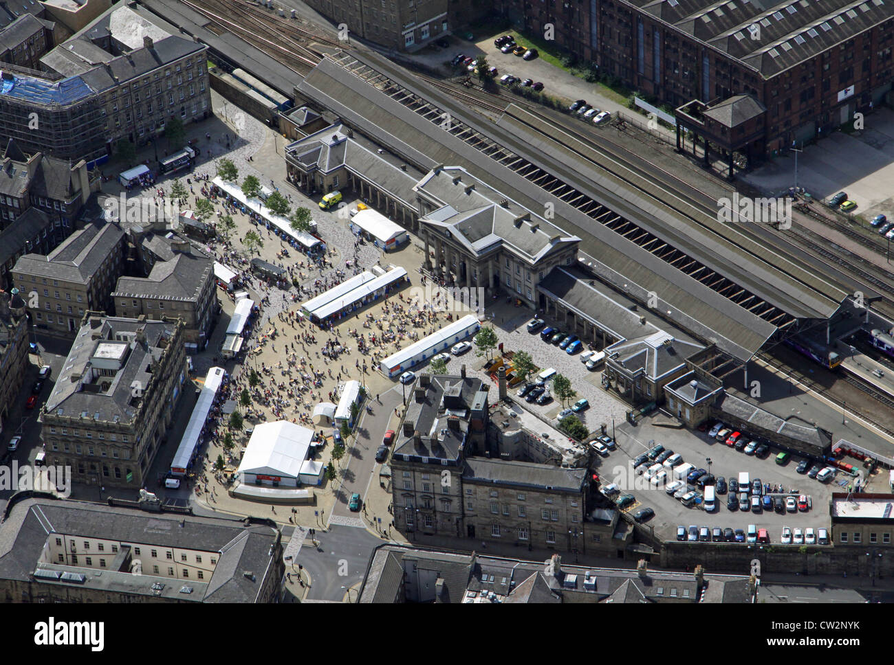 aerial view of Huddersfield railway station - Stock Image