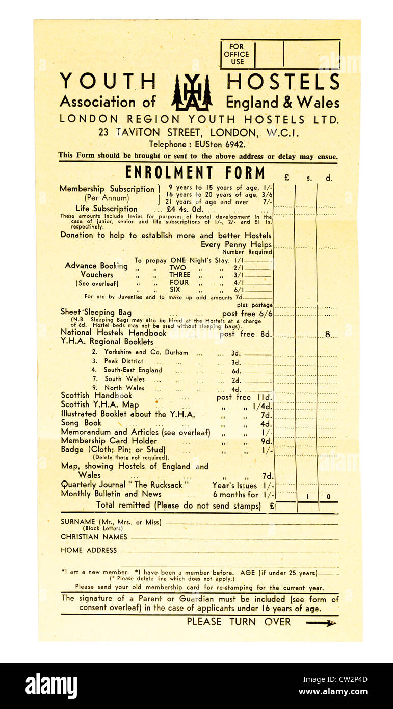 Collectible Youth Hostels Association enrolment form 1960s UK - Stock Image