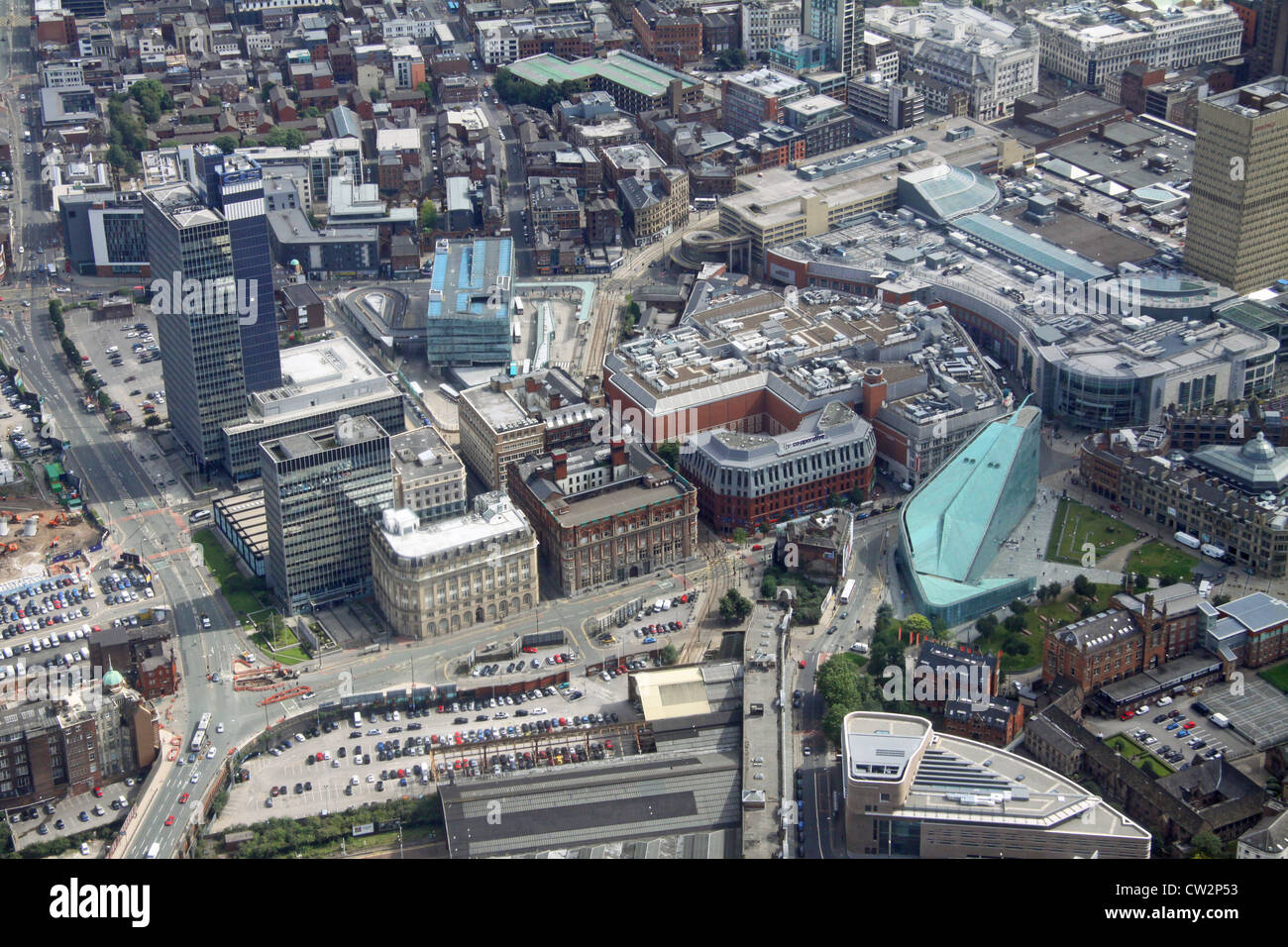 aerial view of Manchester city centre, Deansgate area - Stock Image