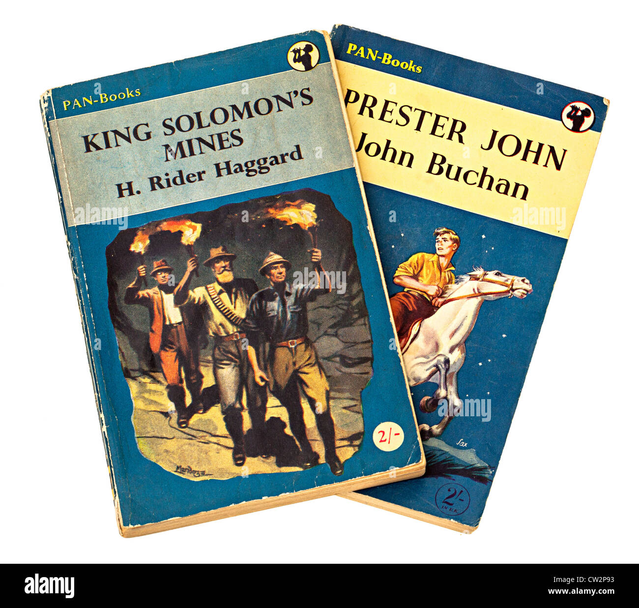 Classic childrens adventure story books by Jules Verne, H. Rider Haggard and John Buchan - Stock Image