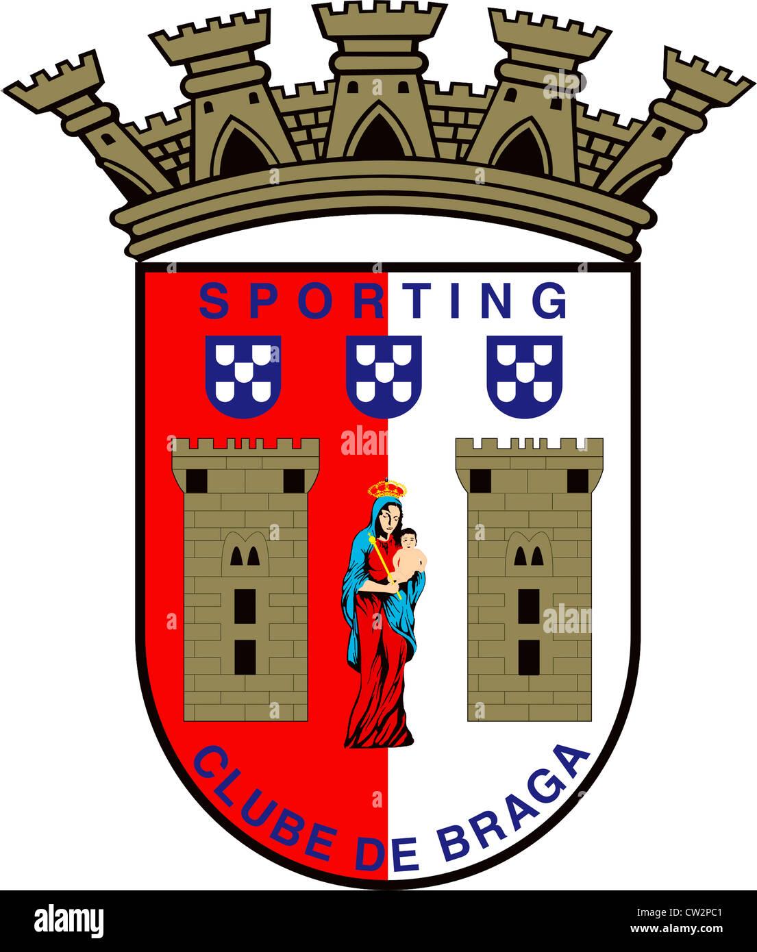 Logo of Portuguese football team Sporting Clube de Braga. - Stock Image