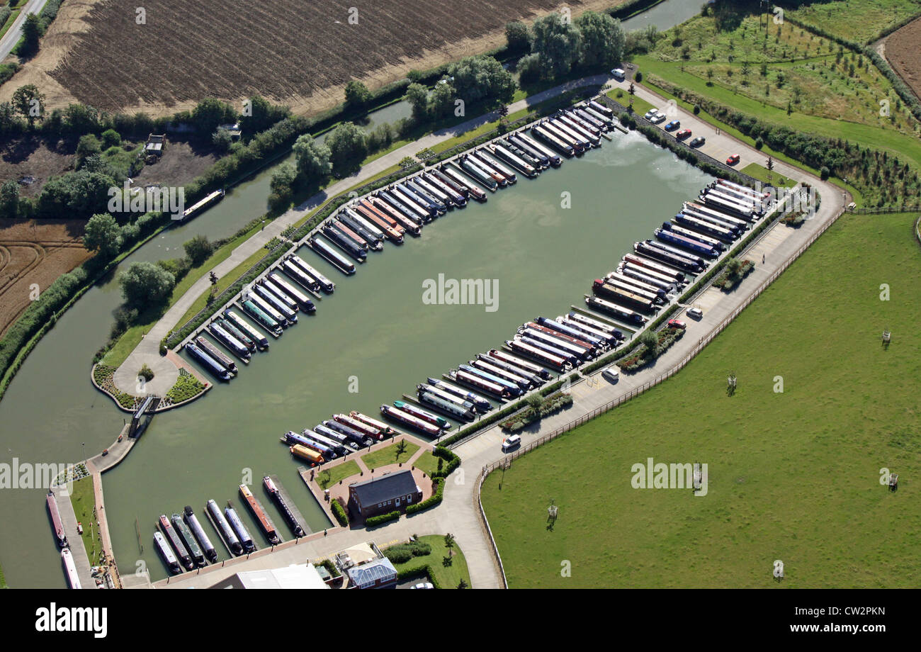 aerial view of Heyford Fields narrowboat marina, Bugbrooke, Northampton - Stock Image