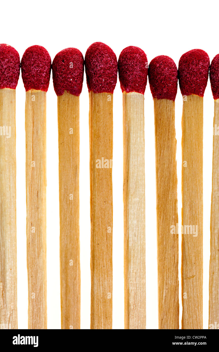 Red match heads coated in phosphorus, UK - Stock Image