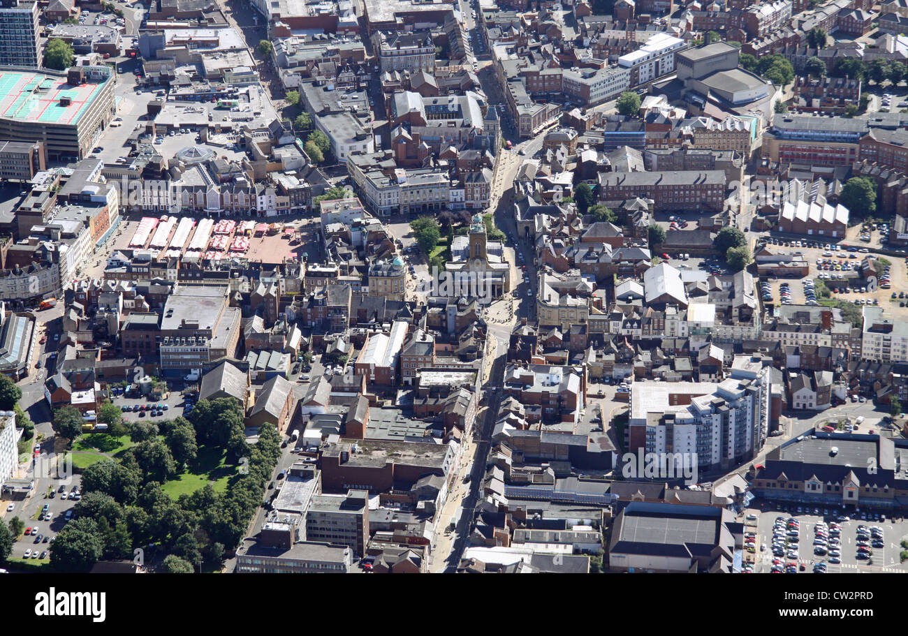 aerial view of Northampton town centre - Stock Image
