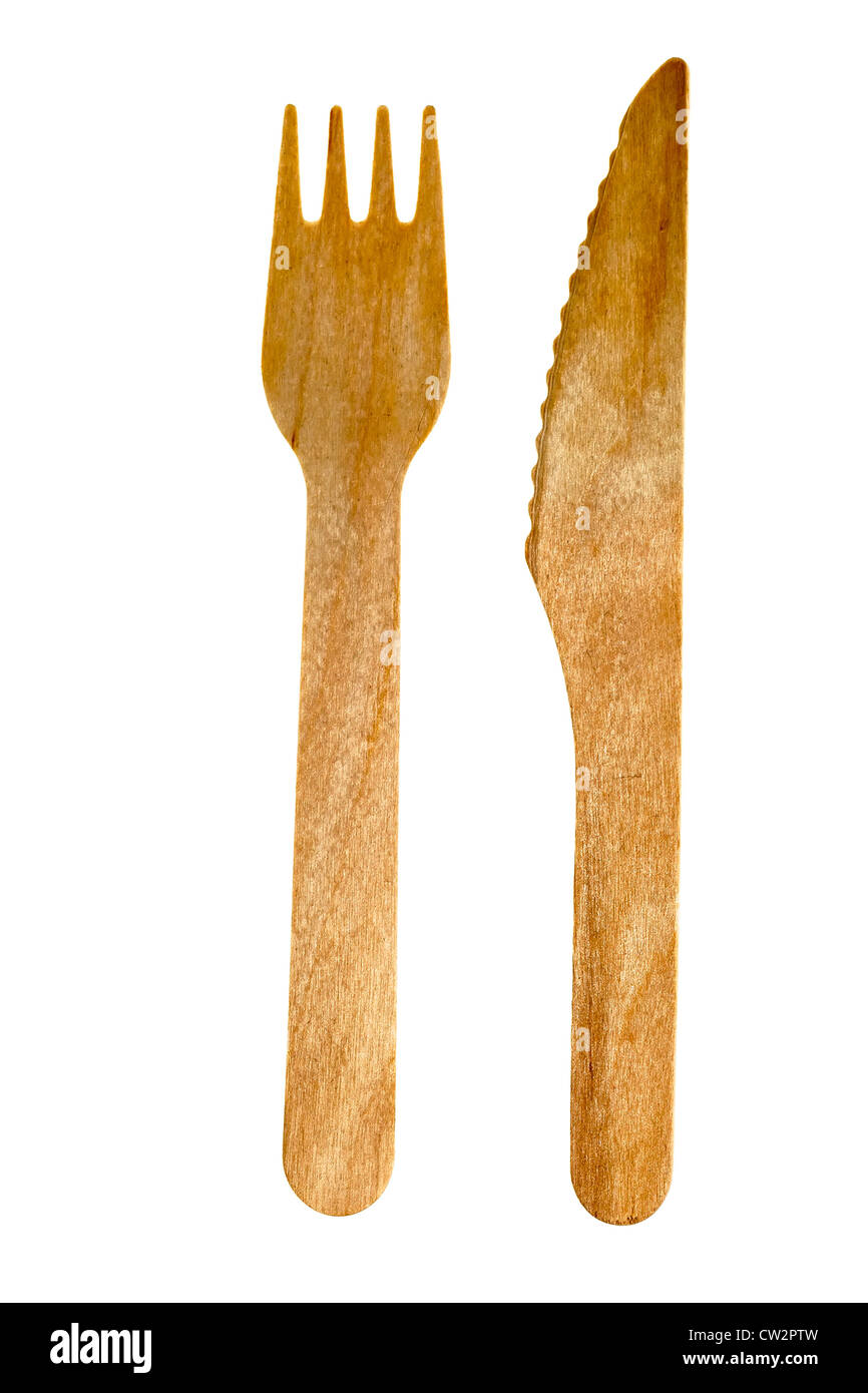 Wooden disposable knife and fork, UK - Stock Image