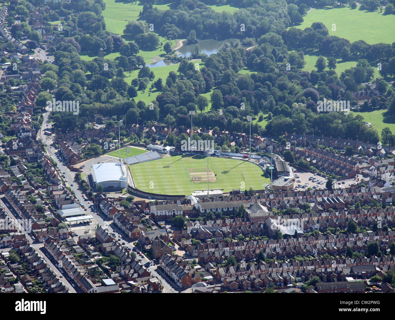 aerial view of Northamptonshire County Cricket Club ground, Northampton - Stock Image
