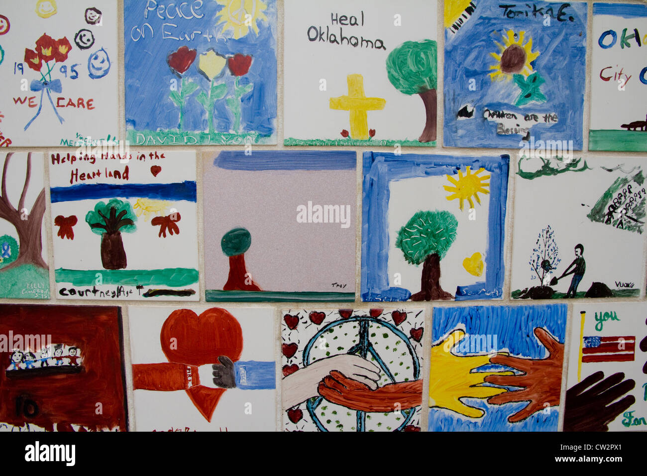 Wall of hand-painted tiles, Chidren's Area, Oklahoma National Memorial & Museum, in memory of tragic 1995 bombing, Stock Photo