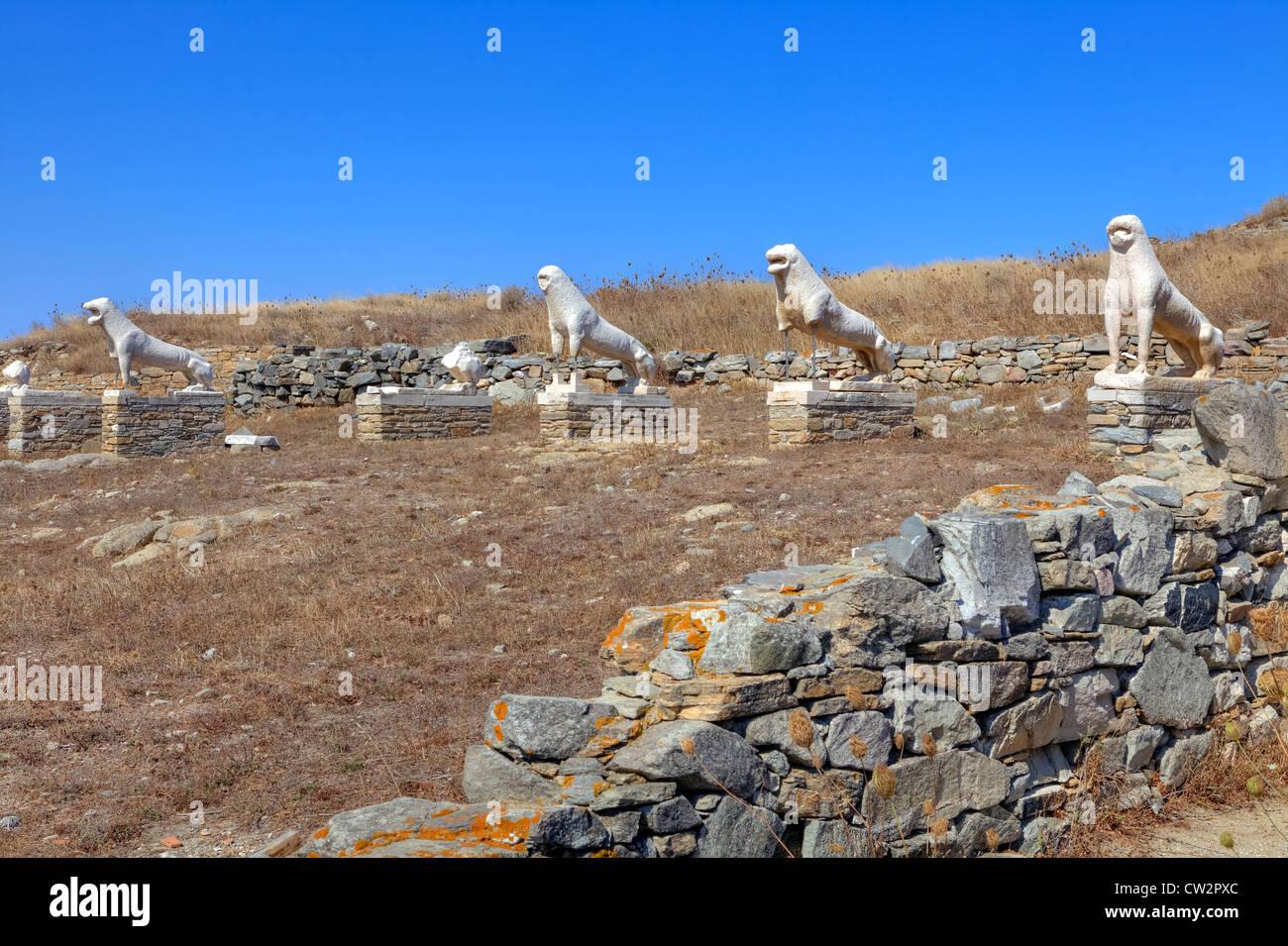 Lion Terrace, Delos, Greece - Stock Image