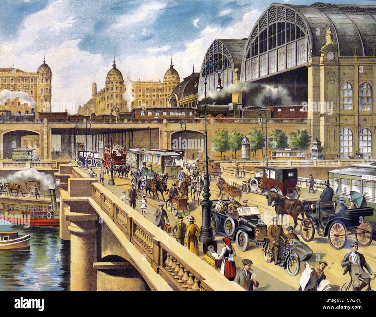 ITALIAN TRANSPORT POSTER about 1910 showing various means of transport - Stock Image
