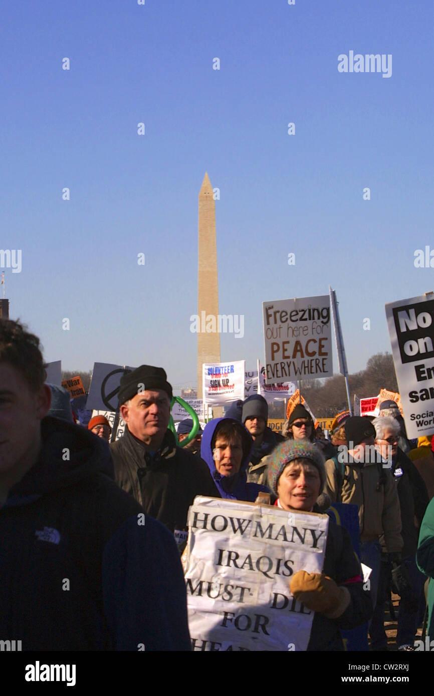 Large anti war rally leading up to the Iraq war on the National Mall in Washington DC on Jan. 18, 2003. Stock Photo
