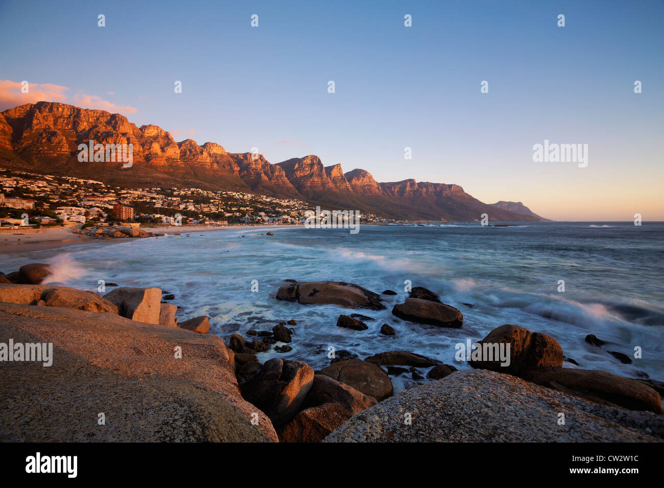 Camps Bay beach with the view of the Twelve Apostles mountain range.Cape Town.South Africa - Stock Image