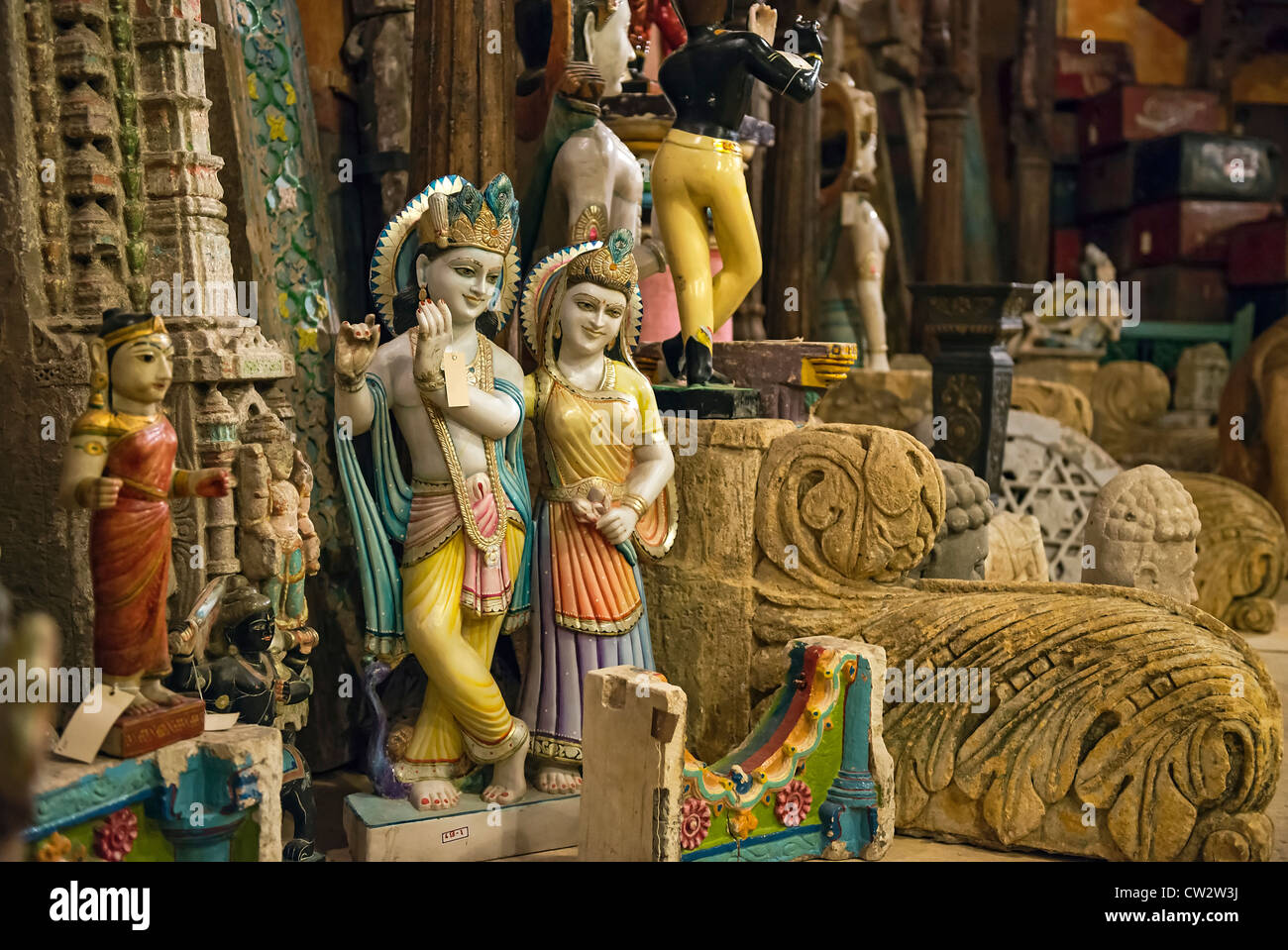 Imported artifacts and decorative items from India. Stock Photo