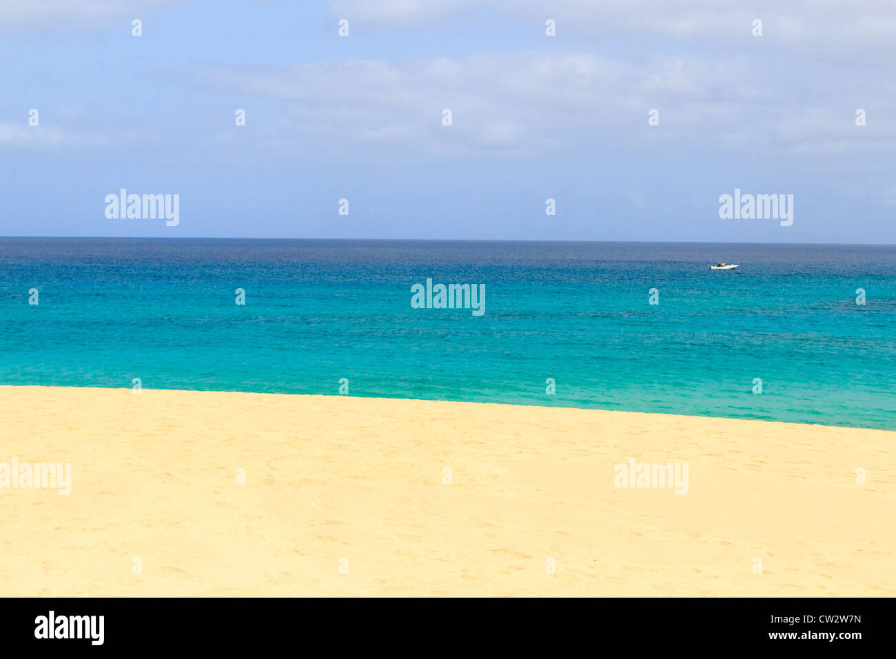 Paradise Island in sal cape verde boat - Stock Image